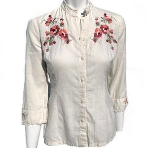 Lucky Brand Floral Embroidered High Collar Blouse